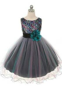 BLUE-TEAL-FLOWER-GIRL-DRESS-WEDDING-CHRISTMAS-RECITAL-HOLIDAY-TULLE-SEQUIN