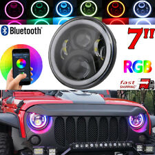 "7"" LED Headlight RGB Angel Eye Light Bluetooth App For Jeep Wrangler Hummer"