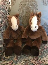 Lot of 2 plush stuffed Tan brown Horse Horses Ponies Pony Build-a-Bear Twins #C6