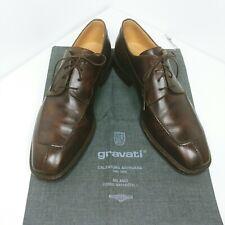 GRAVATI Split Toe Rich Brown Oxfords 7.5 M Made in Italy Lace Up square toe
