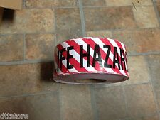 "Warning Tape ""LIFE HAZARD DO NOT ENTER"" 3"" Wide x 1000' Roll - Red w/ Red Stripe"
