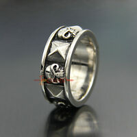 Silver 316L Stainless Steel Skull and Pyramid Men's Women's Biker Band Ring Punk