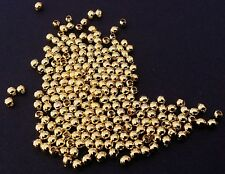 400 Gold Plated Smooth Metal Spacer Beads Round 2mm
