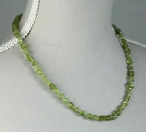 """PERIDOT NUGGET NECKLACE ~ STERLING SILVER 19"""" IN LENGTH"""