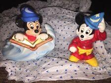 Disney Mickey Mouse - 2 Sorcerer Fantasia Figurine Ornaments - Japan VGC