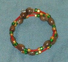 Double Bracelet: Hawaiian brown Job's Tears with red, green and gold seed beads