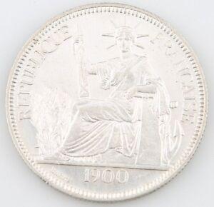 1900-A French Indochina 1 Piastre Silver Coin XF Vietnam Cambodia Laos KM-5a.1