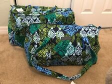 Vera Bradley CARIBBEAN SEA Large & Small Duffel Bag Set Luggage Travel NEW