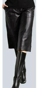 ALBA MODA Dame Lederhose knielang Leder-Culotte Lammnappa schwarz Gr 40 NEU HB56