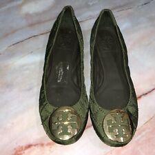 Tory Burch Women's Size 6M Reva Quilted Ballet Flats Green