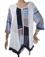 TOP tunique Femme grande taille 54 56 Blanc Bleu asymetrique Geode ZAZA2CATS