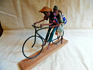 Vintage Jamaican / African Folk Art Family On Bike Ride Dolls / Figurine