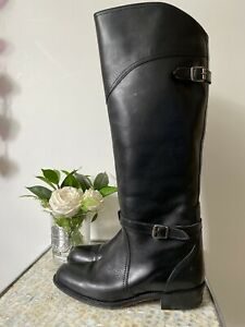FRYE UK 7 US 9 black leather knee light riding pull on Melissa? VGC buckles