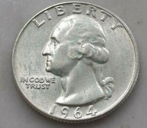 USA 1964-D WASHINGTON QUARTER 90% SILVER COIN