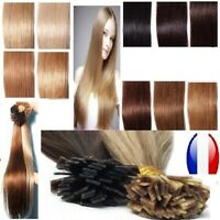25 50 100 150  EXTENSIONS CHEVEUX POSE A CHAUD NATURELS REMY 49CM 0,5G/1G AAA