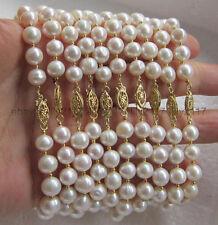 "wholesale 10pc 8-9mm white akoya pearl bracelet 14K yellow Gold Clasp 7.5-8"""