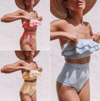 Sexy Women Two Piece High Waist Bikini Set Swimwear Swimsuit Strapless Bandeau