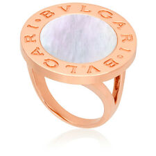 Bvlgari Mother of Pearl 18k Rose Gold Ring- Size 51 346812