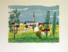Maurice LOIRAND- Lithographie originale signée-Village à l'église 2
