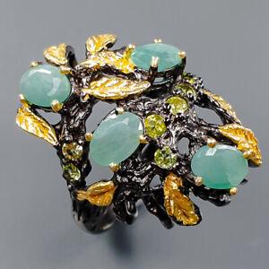 Jewellery Fine Art Emerald Ring Silver 925 Sterling  Size 7.25 /R166649