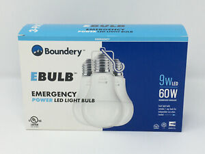 Boundery EBulb 3 Pack Emergency Power LED Light Bulb 9W LED 60W Equivalent - New