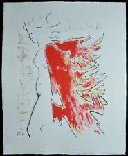 """Jean COCTEAU , Superbe Lithographie """" Manteau de feu  """" signée ,"""