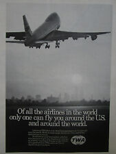 9/1974 PUB TWA AIRLINE BOEING 747 AIRLINER NEW YORK TWIN TOWERS ORIGINAL AD
