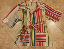 1960s 70s rainbow circus striped belted top