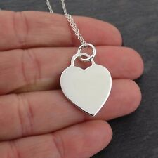 Engravable Heart Necklace - 925 Sterling Silver - Love Wife Girlfriend Gift NEW