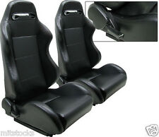 1 PAIR TR STYLE BLACK PVC LEATHER RACING SEATS RECLINABLE FIT FOR ISUZU NEW