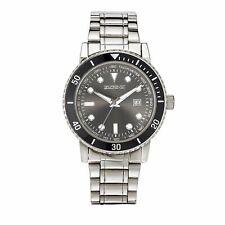 Men's ELGIN II Stainless Steel Wristwatch with Black Face & Quartz Movement