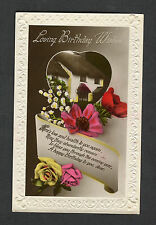 c1930s Birthday Card: Thatched Cottage & Flowers: Love & Health