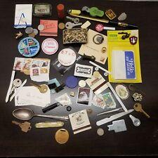 New listing Vtg - Modern Junk Drawer Lot Keys Stamps Belt Buckle Buttons Matchbooks Coins C1