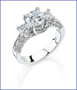 Beauty 3 Stone 1cttw Diamond PLATINUM Designer Engagement Ring Semi Mount