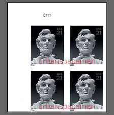 4860a Abraham Lincoln 21c Imperf UL Plate Block of 4 No Die Cuts