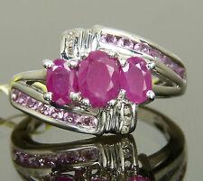 Genuine African Ruby, Pink Sapphire & Diamond Cocktail Ring Platinum / 925