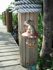 Medium 90 degree Bronze Nautical Passageway Dock Light w/copper hood- ship light
