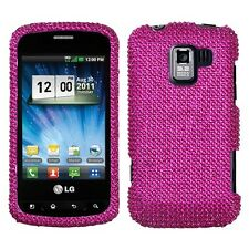 Hot Pink Crystal Diamond BLING Hard Case Phone Cover for LG Enlighten Optimus Q