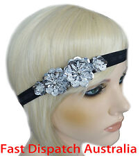 Hair Band Headband Sequin Beaded 20's 20s Great Gatsby Hairband Silver Black