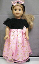 """18"""" American Girl: Doll Clothes - Black Pink Gold Heart Dress Outfit w/ Shoes"""