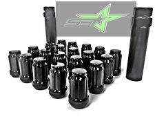 24 BLACK 6 SPLINE LUG NUTS +2 KEYS 12X1.5 | FITS TOYOTA FJ TACOMA TUNDRA 4RUNNER