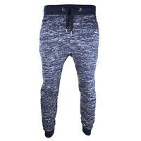Joggers Urban Hip Hop Yarn Dyed Fleece Navy Pants Trousers Elastic Sweatpants