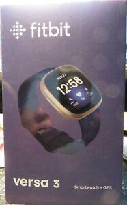Fitbit Versa 3 FB511GLNV Health & Fitness Smartwatch -Gold Navy NEW!