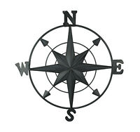 Distressed Black Enamel Metal Decorative Compass Wall Hanging 21 Inch Diameter