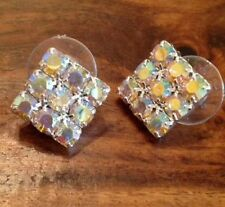 Rhinestone Glass Round Stud Costume Earrings