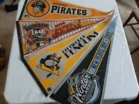 Vintage Pittsburgh Pirates Penguins Pennant Lot Of 4