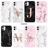 PERSONALISED MARBLE CASE INITIALS NAME HARD COVER FOR APPLE IPHONE 12 XS 11 SE