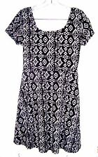 Bobbie Brooks Black and White Batik Look Cap Sleeve A Line Dress Sz S