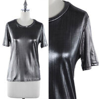 Short Sleeve Round Neck Metallic T Shirt Top Casual S M L