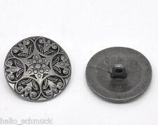 20 Antik Silber Metall Muster Knopf/ Knöpfe 25mm
